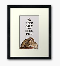 Keep Calm and Degu Pile Framed Print