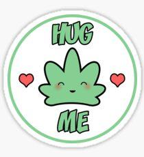 Hug Me Kawaii Weed Leaf Sticker