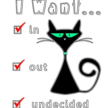 Funny Cartoon Cat Undecided In or Out by wmr2
