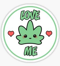 Kawaii Love Me Weed Leaf Sticker