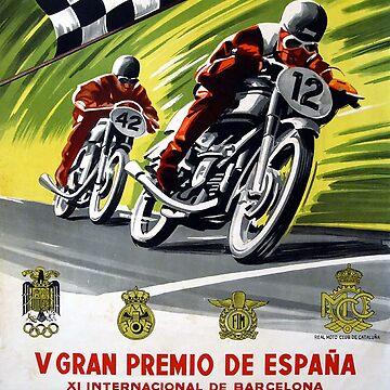 Vintage Motorcycle V Gran Premio De Espana - Circa 1954 by marlenewatson