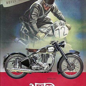 Vintage British Norton Motorcycle Poster - Circa 1950's by marlenewatson