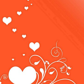 White Valentine Hearts On Red Background by taiche