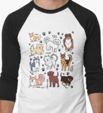 Cute dogs! 10 breeds Men's Baseball ¾ T-Shirt