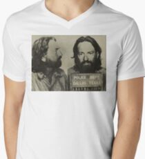 Willie Nelson Mug Shot Horizontal Sepia Men's V-Neck T-Shirt