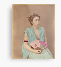 Japanese girl with fan Metal Print