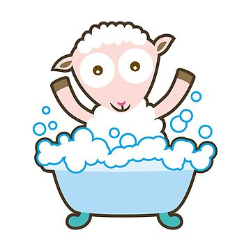 Baby sheep take a bath by yolan