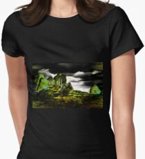 My green abstract digital painting, for St Patricks Day, of the Ruins of Clonmacnoise Castle nr Athlone in Ireland 1214 Women's Fitted T-Shirt
