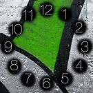Street Art - green and silver geometry (Triptych) (not printed with metallic ink) by lakazdi