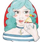 Watercolour Illustration of Blue-Haired, Nautical Meredith with a Cupcake by arosecast