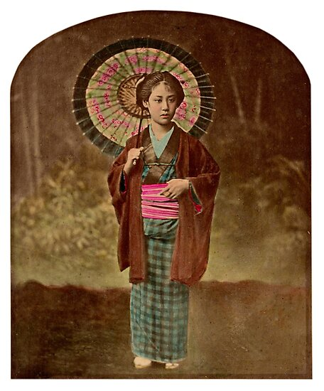 Japanese girl with umbrella by Fletchsan