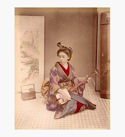 Geisha playing a samisen Photographic Print