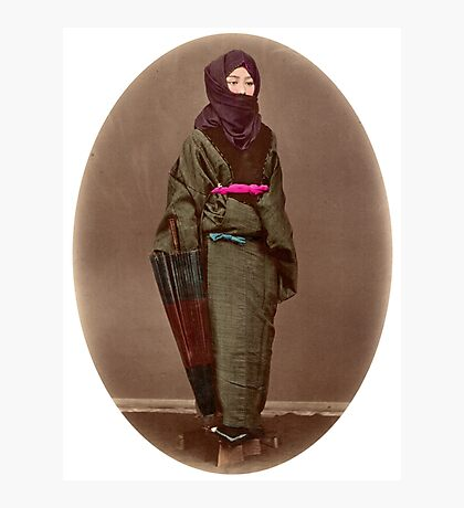 Japanese girl in winter costume Photographic Print