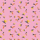 Flamingos auf rosa Hintergrund von PearTreePond