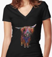 CoW PRiNT SCoTTiSH HiGHLaND ' CoCo ' By SHiRLeY MacARTHuR Women's Fitted V-Neck T-Shirt