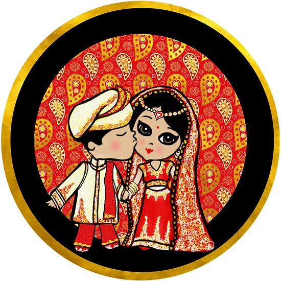 Cute Indian Wedding Bride Groom Stickers And Gifts Posters By