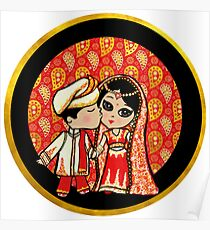 Cute Indian Wedding Bride Groom stickers and gifts Poster