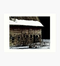 Barn in winter Art Print
