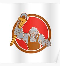 Angry Gorilla Plumber Monkey Wrench Circle Cartoon Poster