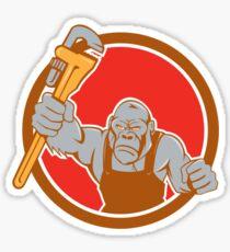 Angry Gorilla Plumber Monkey Wrench Circle Cartoon Sticker
