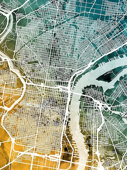 Philadelphia Pennsylvania Street Map by Michael Tompsett
