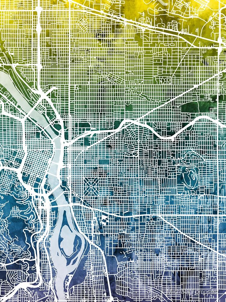 Portland Oregon City Map by ArtPrints