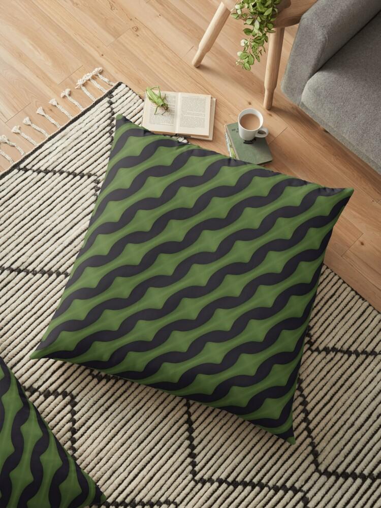 Stripe Pattern 3, Green & Black by SummerAndSun