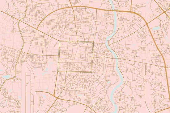 Pink and gold Chiang Mai map, Thailand by AnnaGo