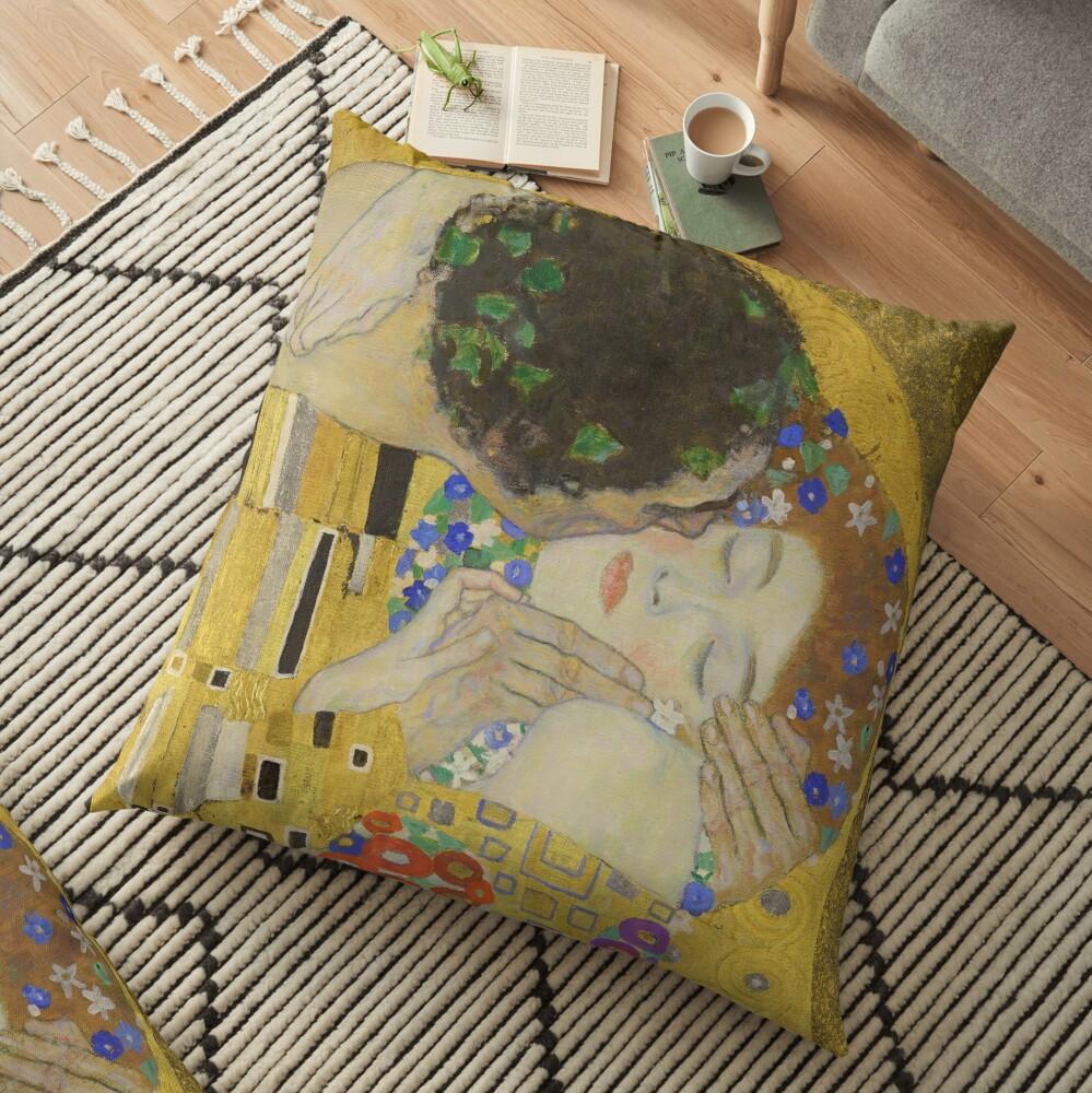 The Kiss - Gustav Klimt Floor Pillow