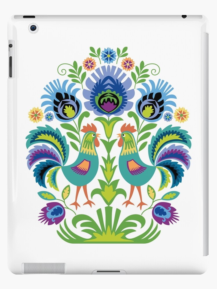Polish Folk Design Two Roosters by Barbara Pixton