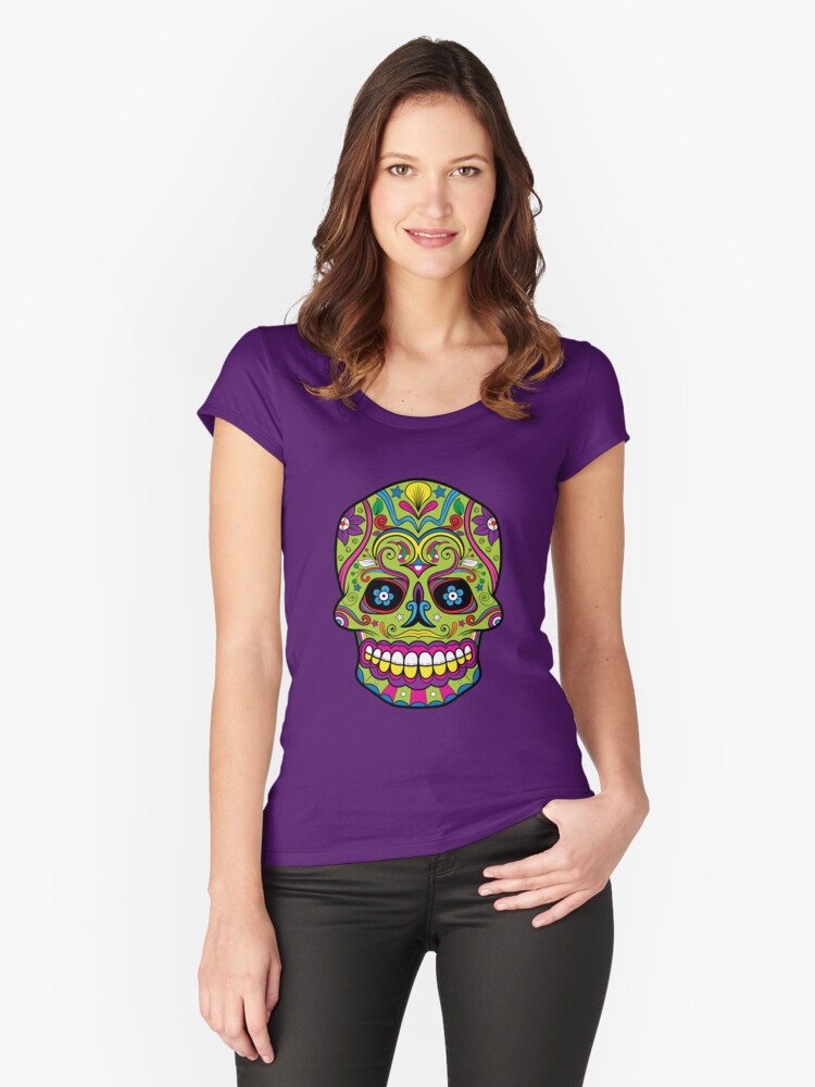 Sugar Skull T-Shirt Women's Fitted Scoop T-Shirt Front