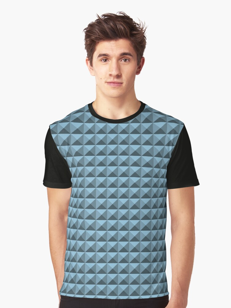 3D Pyramids grey-blue Graphic T-Shirt Front