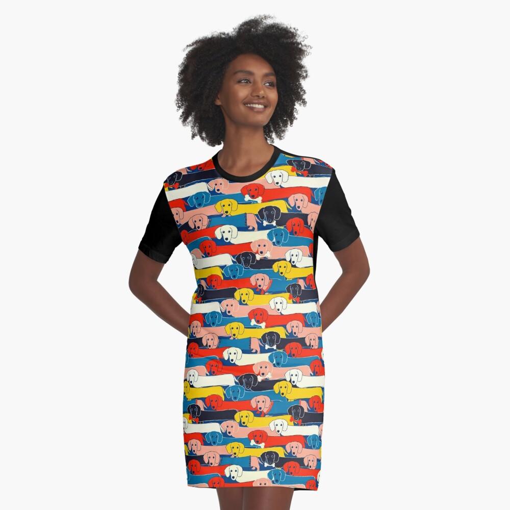 FARBIGES NETTES HUNDE-MUSTER 2 T-Shirt Kleid