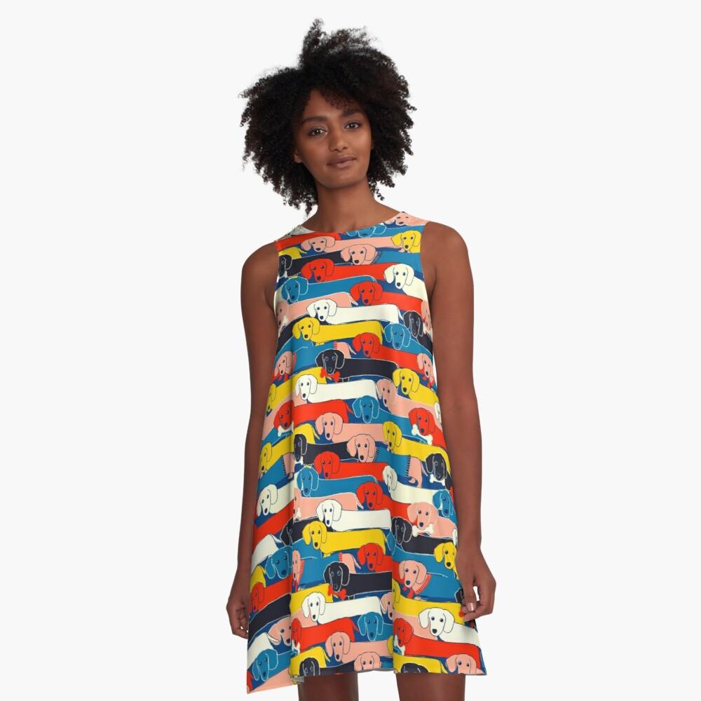 COLORED CUTE DOGS PATTERN 2 A-Line Dress