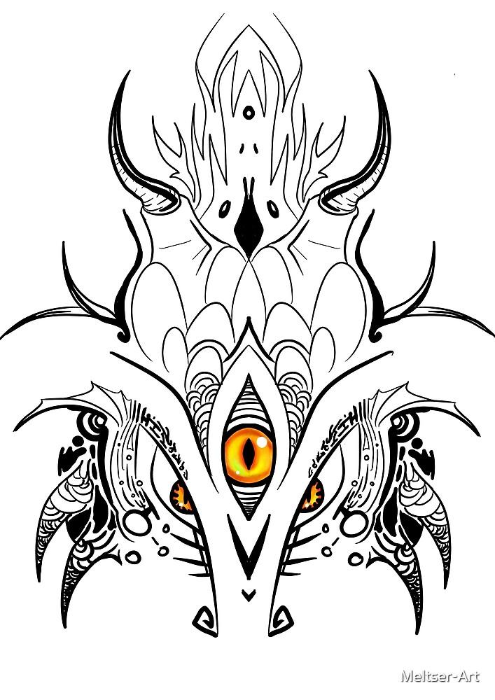 Zen Lineart Dragon by Meltser-Art