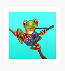 Baum-Frosch, der Neuseeland-Flaggen-Gitarre spielt Kunstdruck