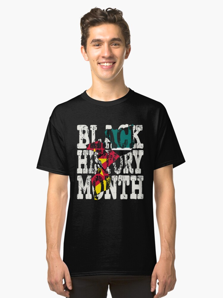 Black History Month Melanin Poppin' Mozambican Flag Shape African Black Pride Mozambique Maputo Flag Classic T-Shirt Front