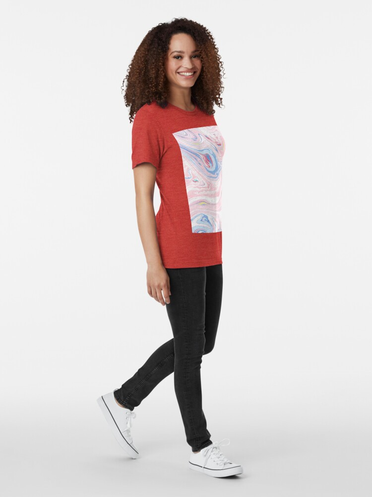 Alternate view of Blush pink blue yellow abstract hand painted watercolor marble Tri-blend T-Shirt