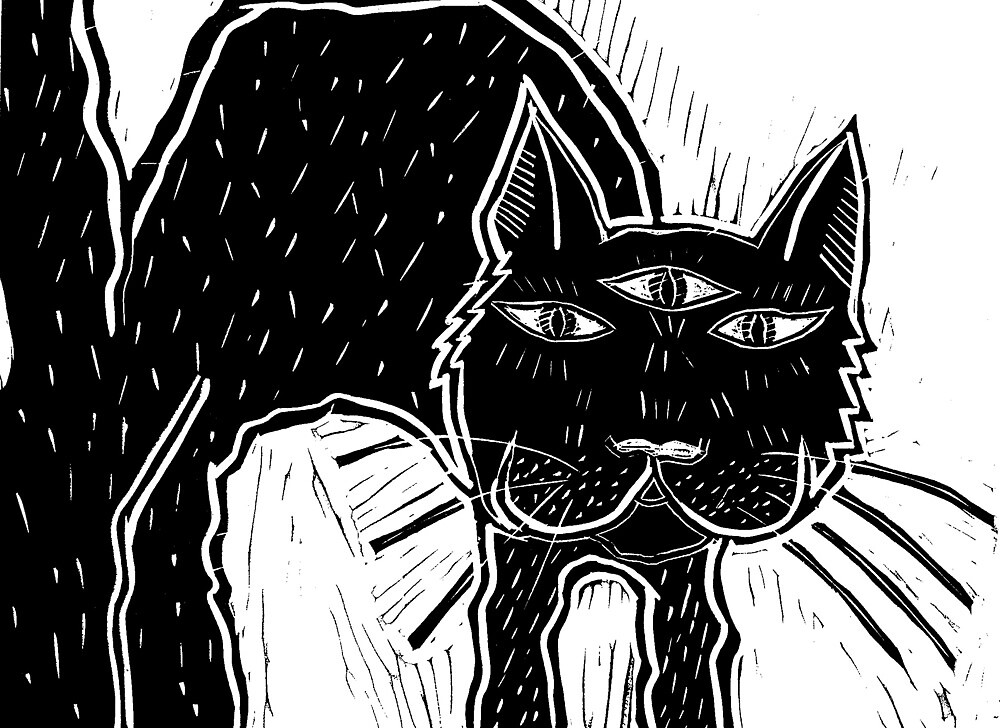 Third eye cat linocut by Hannah Schoolcraft