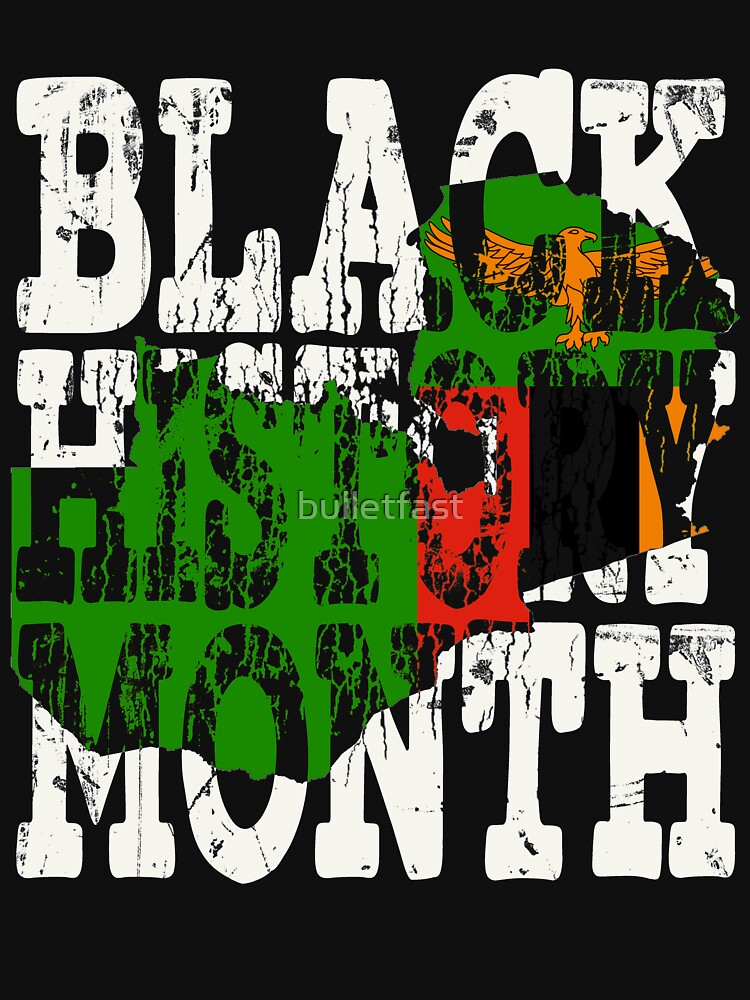 Black History Month Melanin Poppin' Zambian Flag Shape African Black Pride Zambia Lusaka Flag by bulletfast