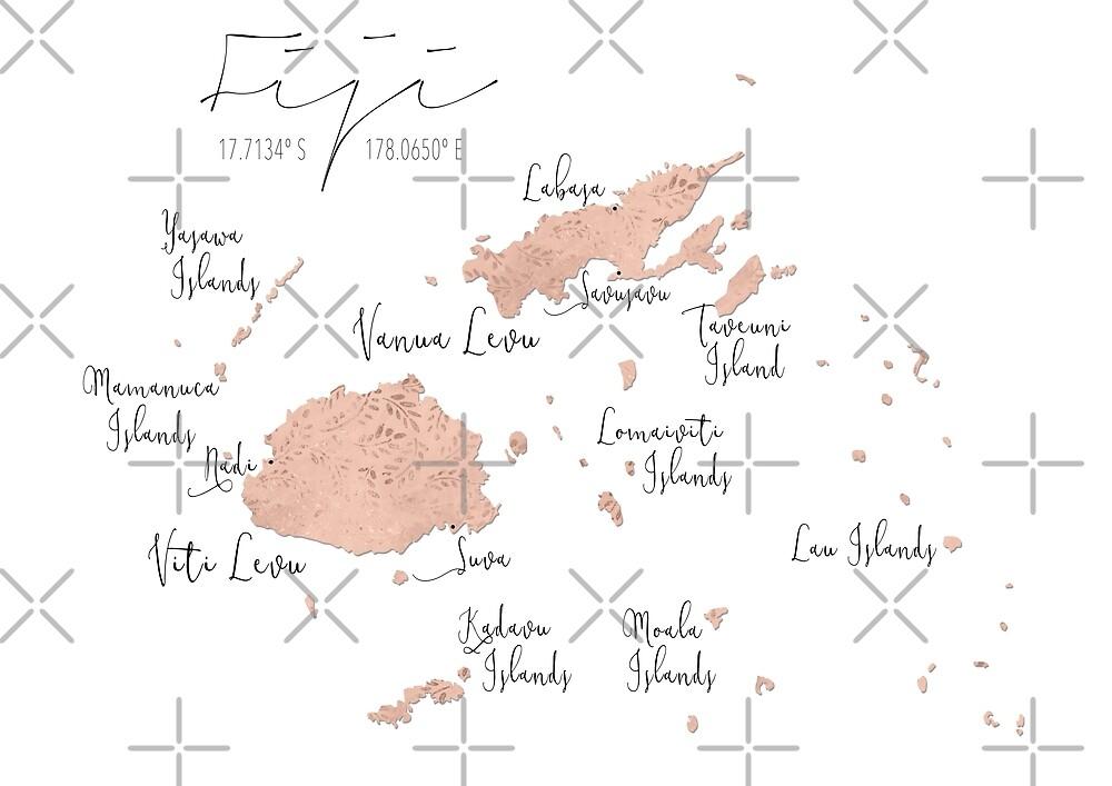 Fiji Blush Leaves Map by lolomastudio
