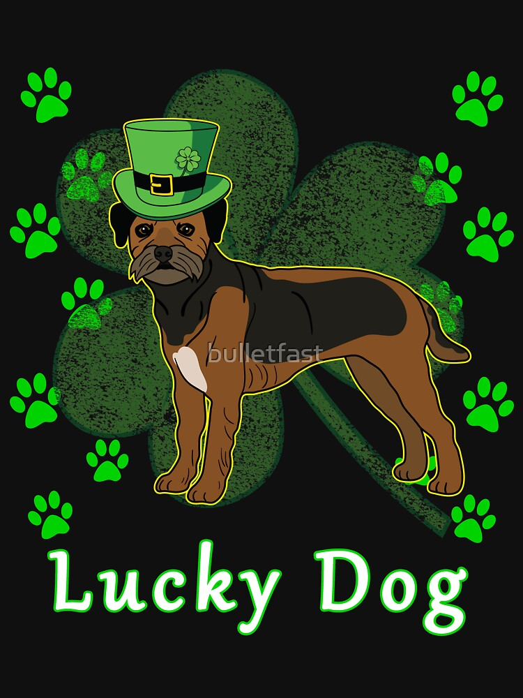St Patricks Day Dog St Paddy Day Shamrock Paw Border Terrier St Patrick Day by bulletfast
