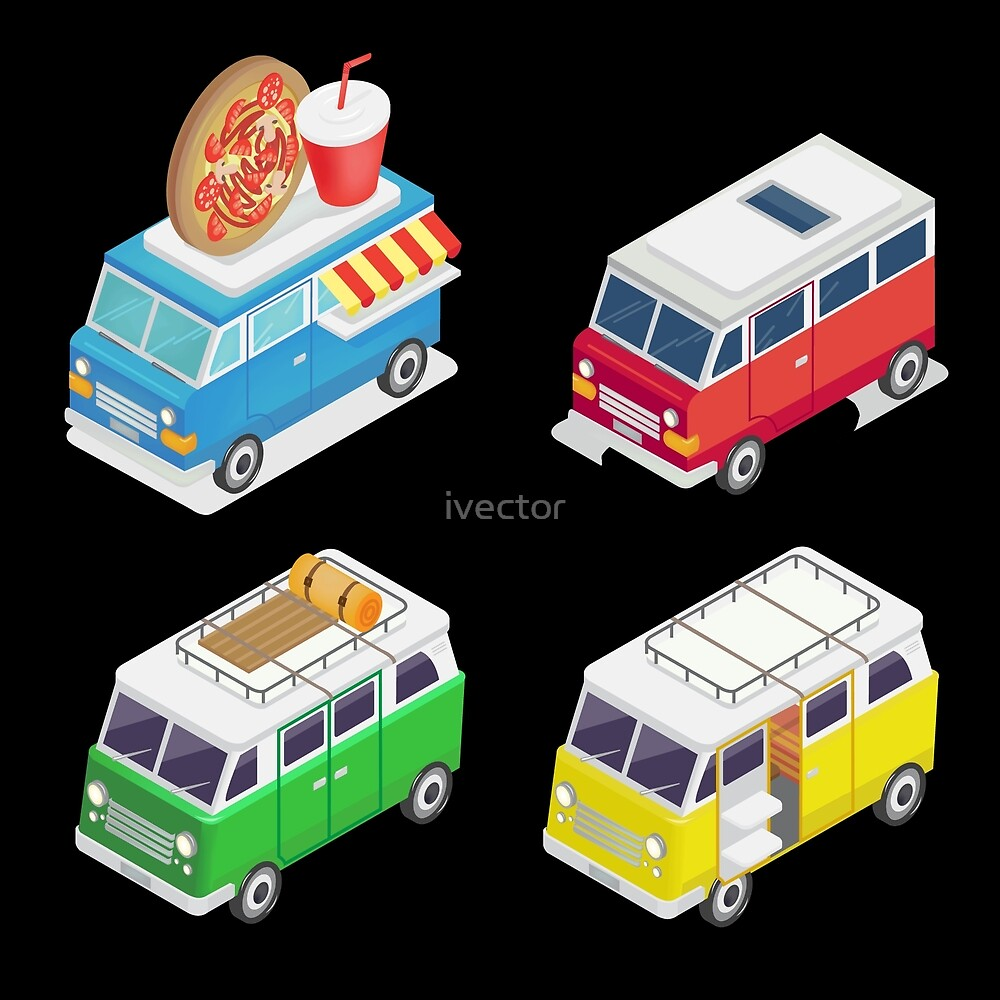 Isometric Car. Food Truck. Family Camper. Isometric Transportation.  by ivector