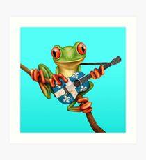 Baum-Frosch, der Quebec-Flaggen-Gitarre spielt Kunstdruck