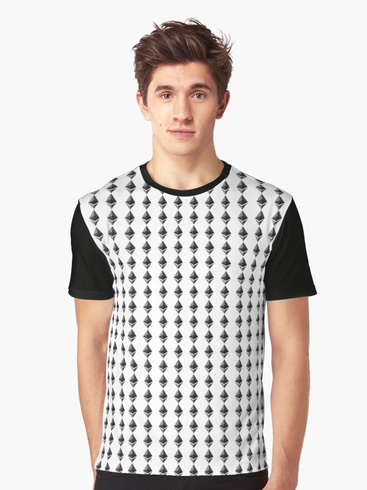 Ethereum Pattern Crypto Coin Token Design Graphic T-Shirt Front