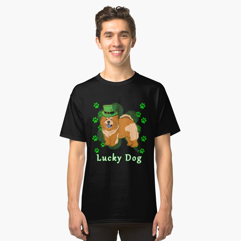 St Patricks Day Dog St Paddy Day Shamrock Paw Chow Chow St Patrick Day Classic T-Shirt Front