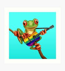 Baum-Frosch, der homosexuelle Stolz-Regenbogen-Gitarre spielt Kunstdruck
