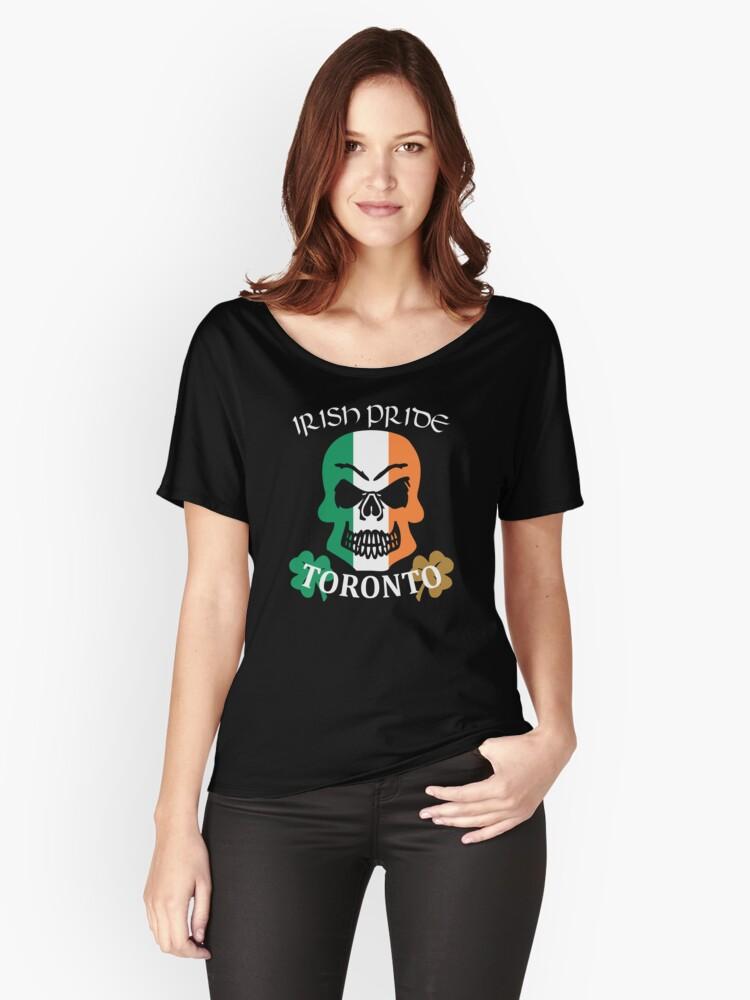 Toronto Canadian Irish Pride Skull Shamrock Saint Patrick Women's Relaxed Fit T-Shirt Front