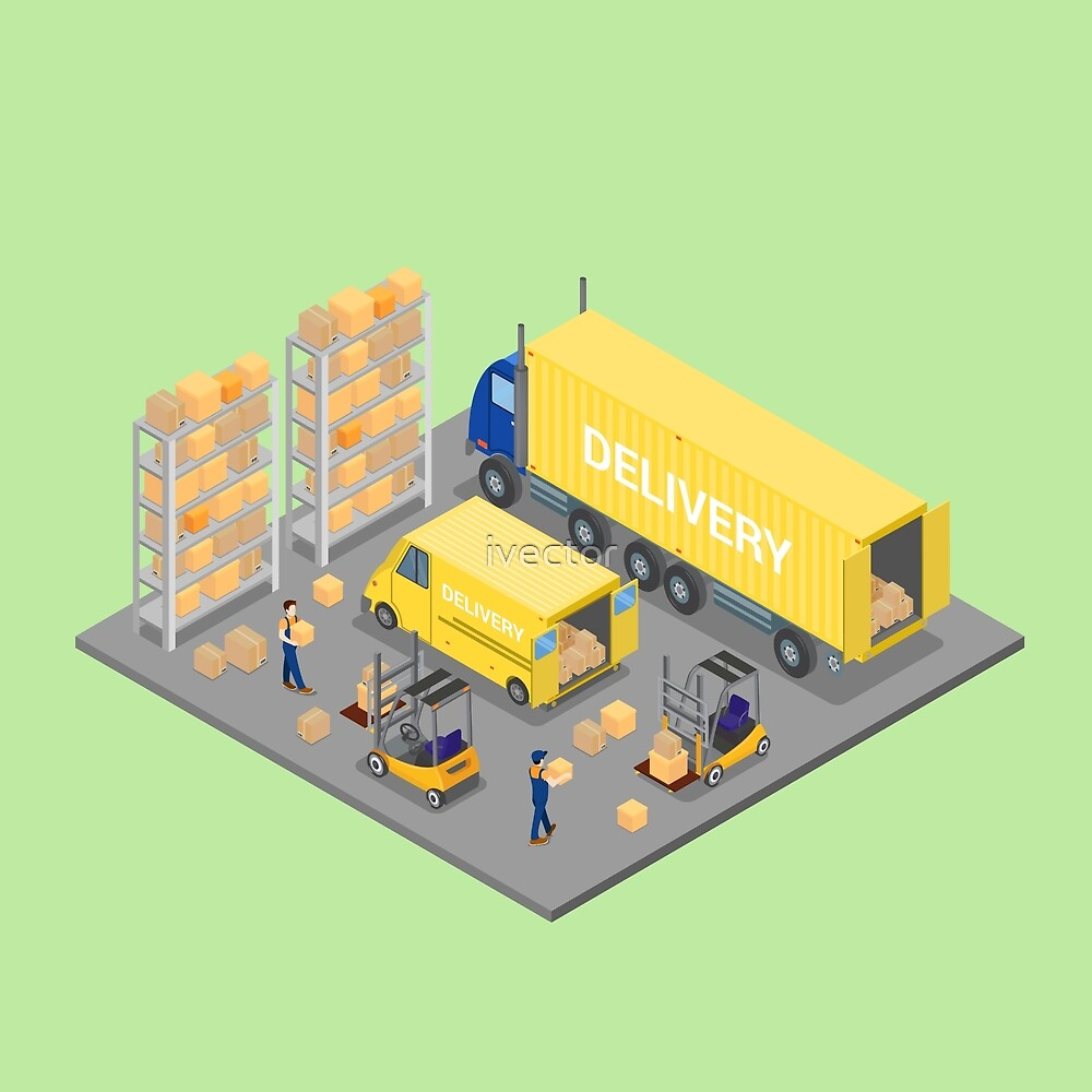 Isometric Warehouse. Cargo Industry. Worker on Forklift. Cargo Loading.  by ivector