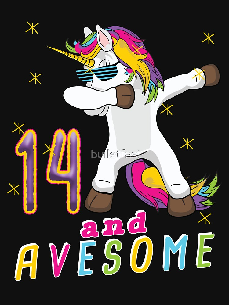 Fourteen and Avesome Unicorn Dabbing Bday Party Gift 14 Years Dab Dance  14th Birthday by bulletfast